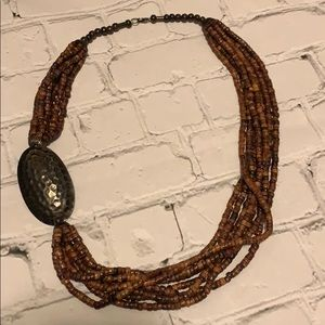 Chico's Wooden Bead Statement Necklace
